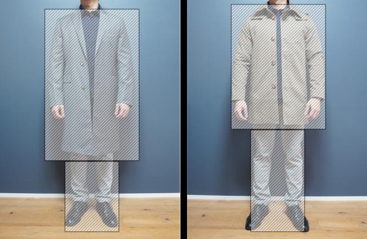 ロング丈コート 着丈比較 図解