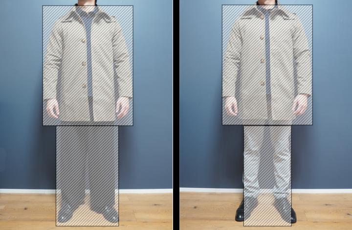 ロング丈コート パンツ幅比較 図解
