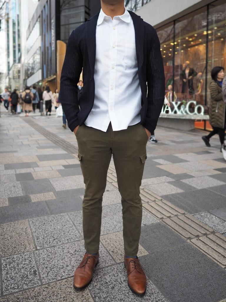 低身長男性 ネイビージャケット