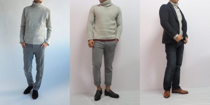 低身長 コーデ タートルネックセーター